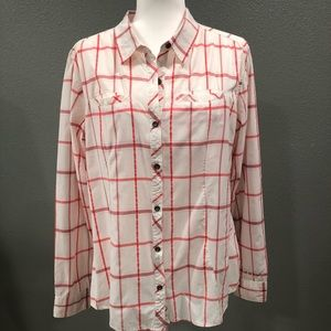 Cabela's Pink and White Plaid Nylon Shirt LG